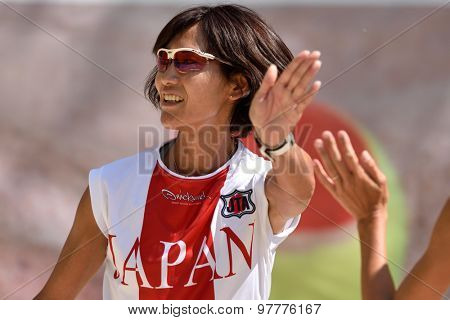 MOSCOW, RUSSIA - JULY 15, 2015: Misa Miyasaka of Japan in the match of the ITF Beach Tennis World Team Championship against Belarus. Japan won 2-1