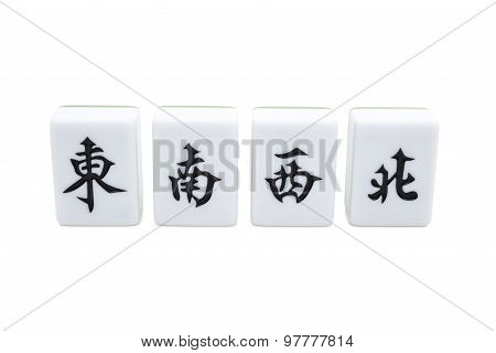 Mah Jong Bricks On White With Clipping Path, The Chinese On The Bricks From Left To Right Menas East