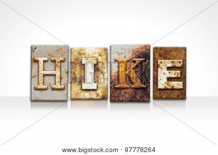 Hike Letterpress Concept Isolated On White