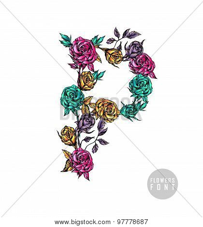 Vector colorful flower font.