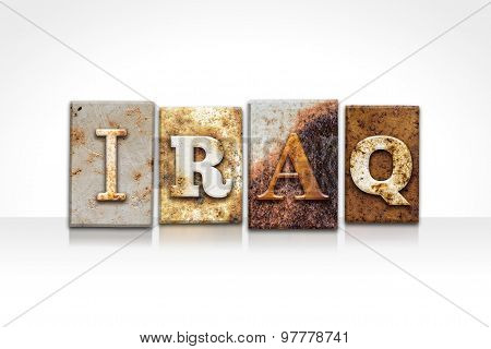 Iraq Letterpress Concept Isolated On White