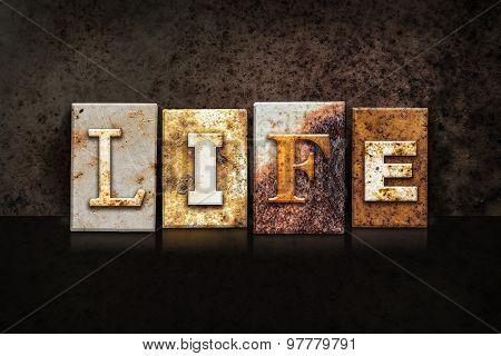 Life Letterpress Concept On Dark Background
