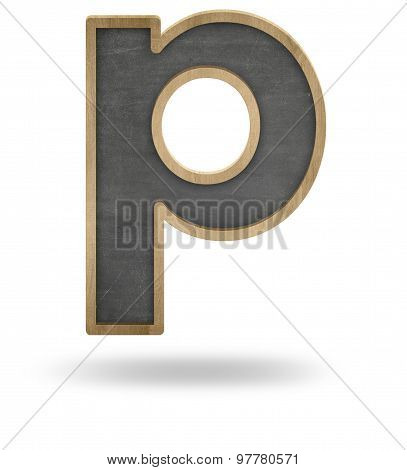 Black blank letter p shape blackboard