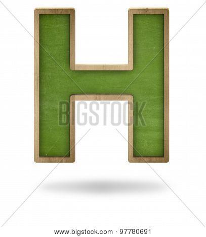 Green blank letter H shape blackboard