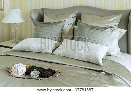 Tray Of Crochet On Bed In Luxury Bedroom
