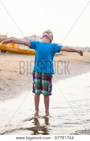 Carefree Little Boy At Sea Spread Arms