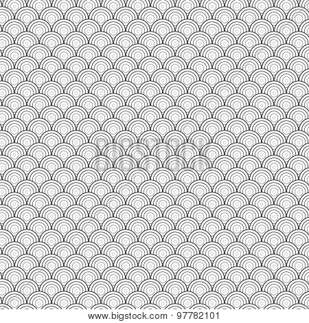 Seamless Circle Black and White Sea Shell Geometric Vector Pattern for Backg