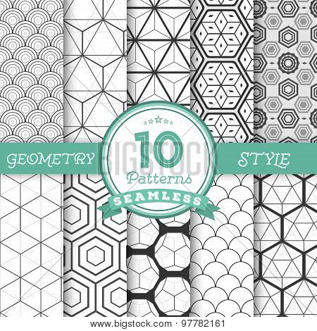 Set of 10 Vector Seamless Geometric Lines Pattern Backgrounds fo