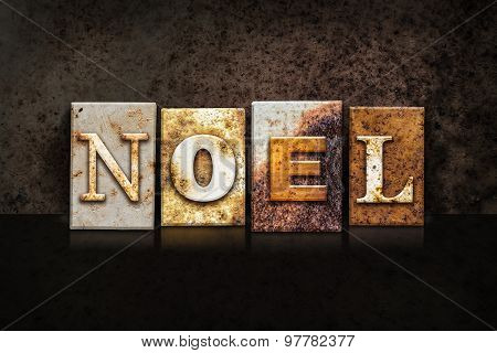 Noel Letterpress Concept On Dark Background