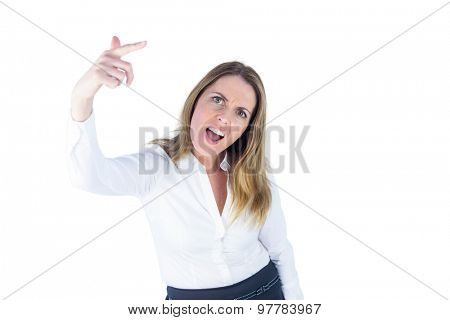 Angry businesswoman gesturing against a white background