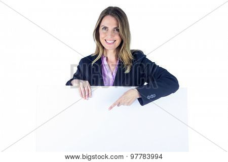 Businesswoman showing a blank sign on a white background