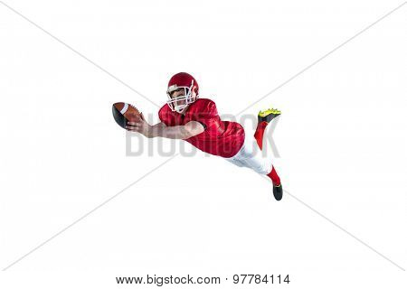 American football player scoring a touchdown on a white background