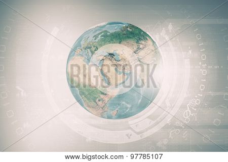 Abstract image planet earth on background of business devices. Elements of this image are furnished by NASA