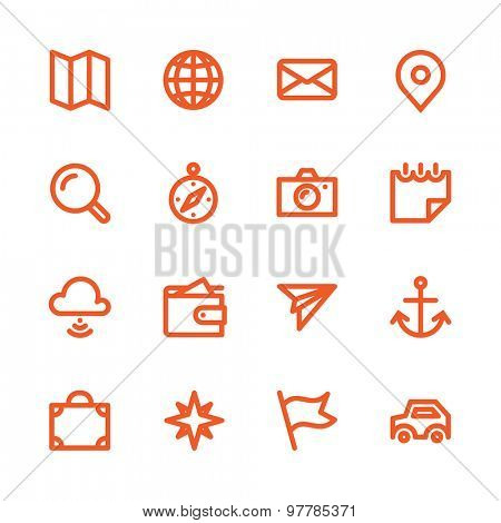 Fat Line Icon set for web and mobile. Modern minimalistic flat design elements of traveling and navigation tools