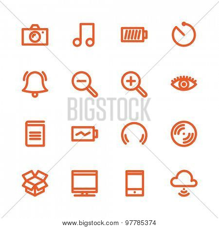 Fat Line Icon set for web and mobile. Modern minimalistic flat design elements of Media Service, Entertainment and Gadgets