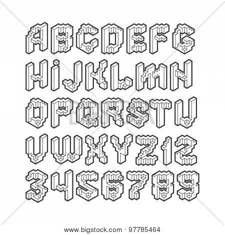 Abstract latin isometric alphabet and numbers
