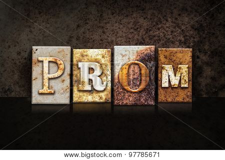 Prom Letterpress Concept On Dark Background