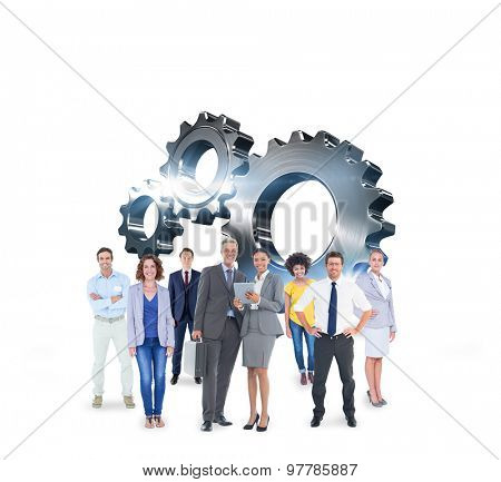 Business team against metal cog and wheel connecting