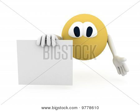 Pipo. Cartoon Character With Blank Poster Over White