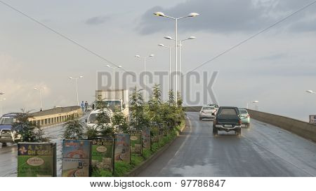 Vehicles Driving On An Overpass Near Gotera Area Of Addis Ababa