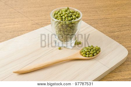 Mung Beans In A Spoon And A Glass Cup