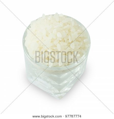 Cup Of Raw Japanese Rice On White
