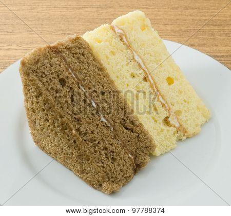 Vanilla And Coffee Chiffon Cake On A Dish