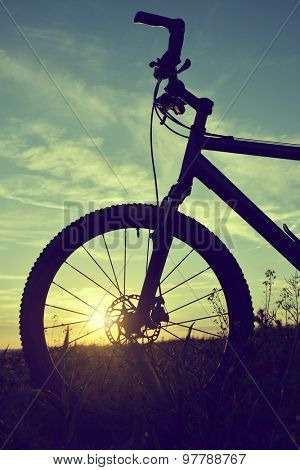 Mountain bike at sunset