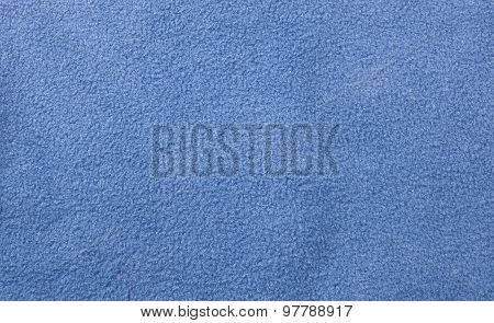 Blue Woolen Fabric Texture In Horizontal Background