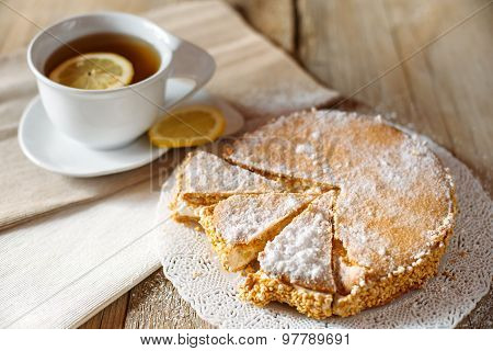 Italian Cake With A Cup Of Tea