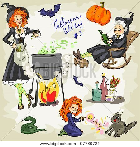 PrintHalloween Witches - 3. Hand drawn collection