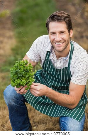 Young happy farmer looking at camera while holding vegetable in the field