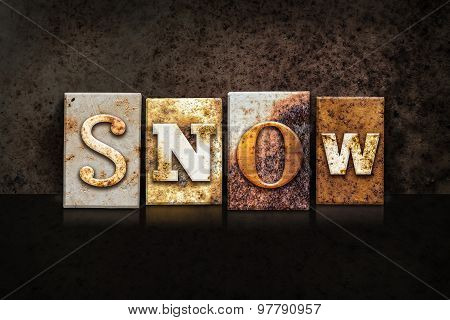 Snow Letterpress Concept On Dark Background