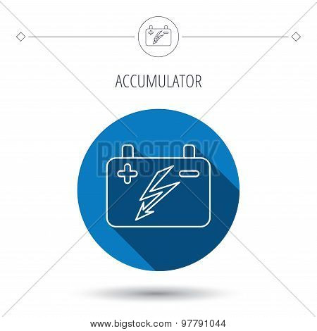 Accumulator icon. Electrical battery sign.