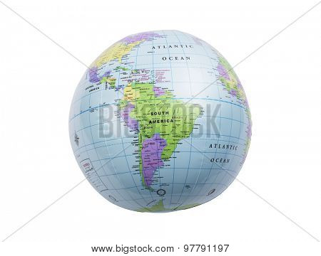 Inflated plastic earth toy showing South America
