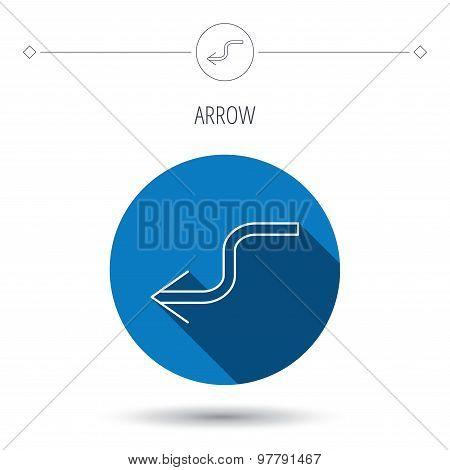 Arrow back icon. Previous sign.
