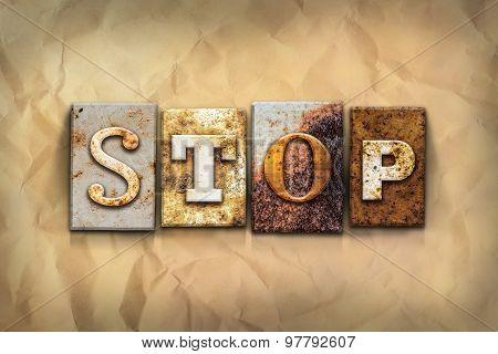 Stop Concept Rusted Metal Type