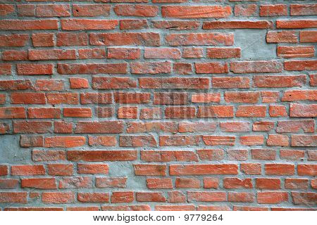 Under construction of Red brick wall
