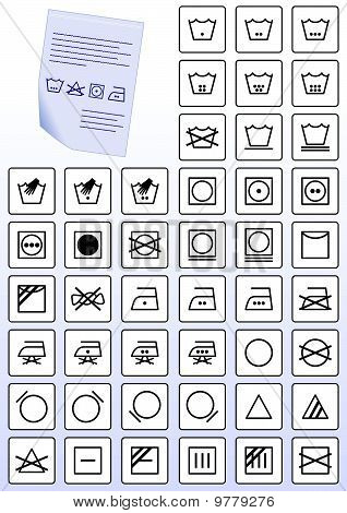 Vector set of apparel wash care symbols.