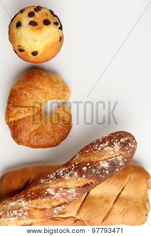 Croissant Bakery With Brade Baguette Muffin