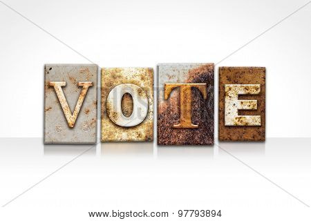 Vote Letterpress Concept Isolated On White