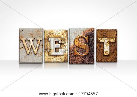 West Letterpress Concept Isolated On White