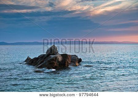 Sea rocks at sunset in Sithonia, Chalkidiki