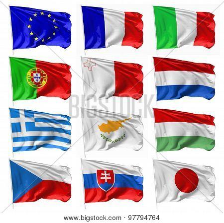European And Japan Flags On Flagpole Set
