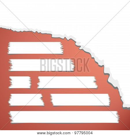 Torn crumpled white paper and set of different size adhesive tape on red background