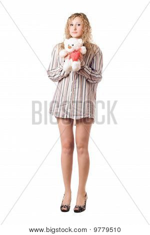 Playful Woman Holding Teddy Bear