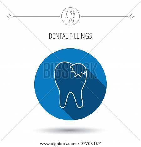 Dental fillings icon. Tooth restoration sign.