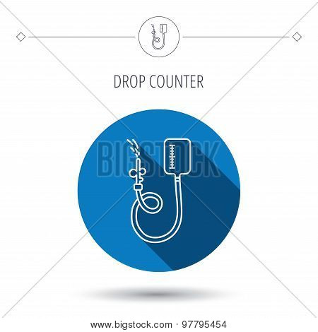 Drop counter icon. Medical procedure sign.