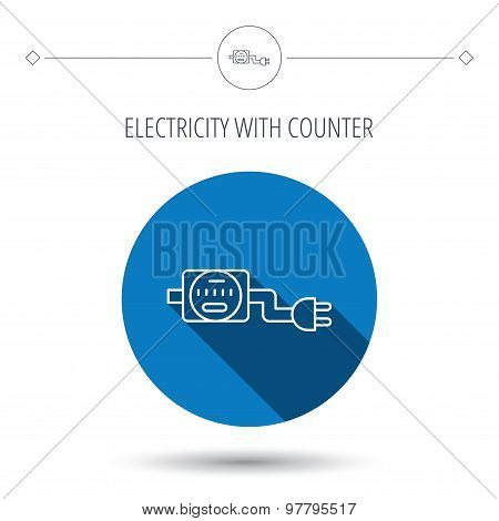 Electric counter icon. Electricity with plug.
