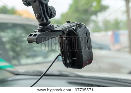 Car Video Recorder Installed On The Window.